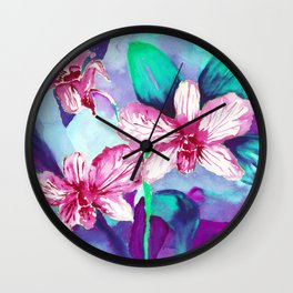 WILD ORCHIDS - VIOLET Wall Clock