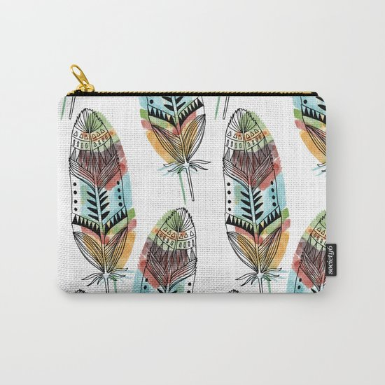 Aztec Watercolor feathers Carry-All Pouch