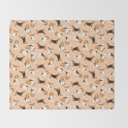beagle scatter peach Throw Blanket