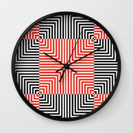 Optical illusion with red and black stripes Wall Clock