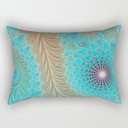 "Aqua Teal Turquoise ""Aquae"" - Fractal Art Rectangular Pillow"