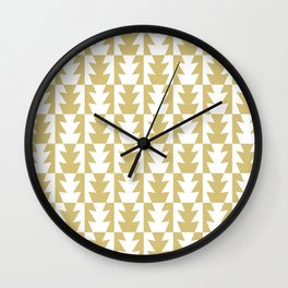 Art Deco Jagged Edge Pattern Gold Wall Clock