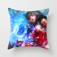 league of legends Throw Pillows featuring League of Legends - Ahri by Raditya Giga
