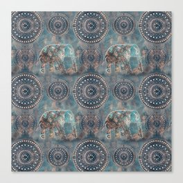 Elephant Ethnic Style Pattern Teal and Copper Canvas Print