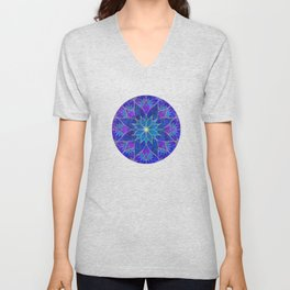 Lotus 2 - blue and purple Unisex V-Neck