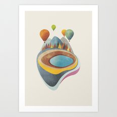Balloons above Crater Lake Art Print
