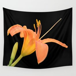 daylily on black Wall Tapestry