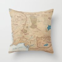 middle earth Throw Pillows featuring Map of Middle Earth by Kaz Palladino