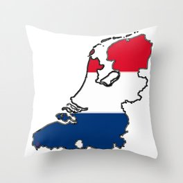 Netherlands Map with Dutch Flag Throw Pillow