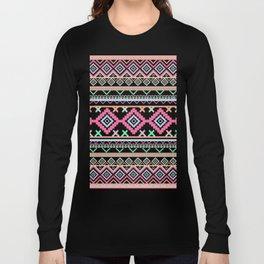 Pink teal Aztec Tribal Diamond geometric Pattern Long Sleeve T-shirt