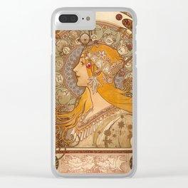 Zodiac by Alphonse Mucha, 1896 Clear iPhone Case
