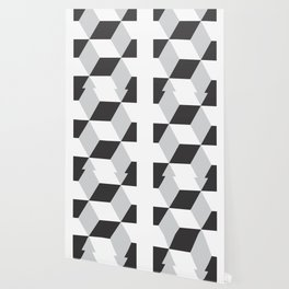 Cubism Black and White Wallpaper