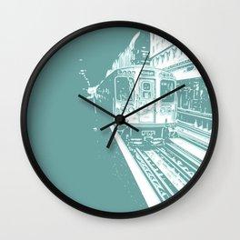 Teal Brown Line Wall Clock