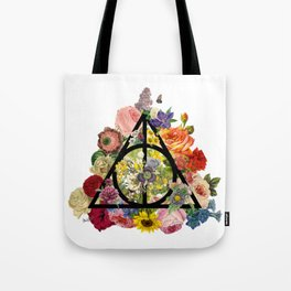 Floral Deathly Hallows - Black Tote Bag