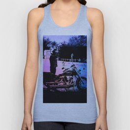 Biker with his motorcycle in a surreal landscape Unisex Tank Top