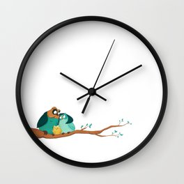 Owls family Wall Clock