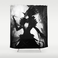 dress Shower Curtains featuring Black Dress by SMG Gallery