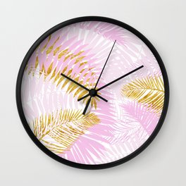 Aloha- Pink Tropical Palm Leaves and Gold Metal Foil Leaf Garden Wall Clock