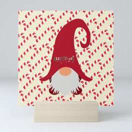 Candy Cane Gnome Mini Art Print