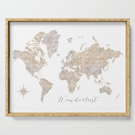 Wanderlust watercolor world map with compass rose Serving Tray