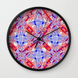Tile #3 Blue & Red 4 Pointed Star on White Wall Clock