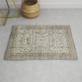 Central Persia Old Century Authentic Colorful Muted Dusty Cream Grey Vintage Rug Pattern Rug