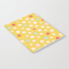Vintage Christmas Wrapping Paper Pattern Design Mustard Stars & Dots Notebook