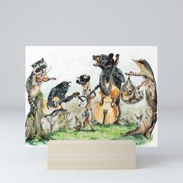 """ Bluegrass Gang "" wild animal music band Mini Art Print"