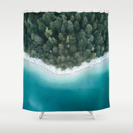 Green and Blue Symmetry - Landscape Photography Shower Curtain