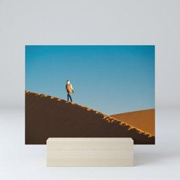 Walking in the sahara desert   Morocco travel photography Mini Art Print