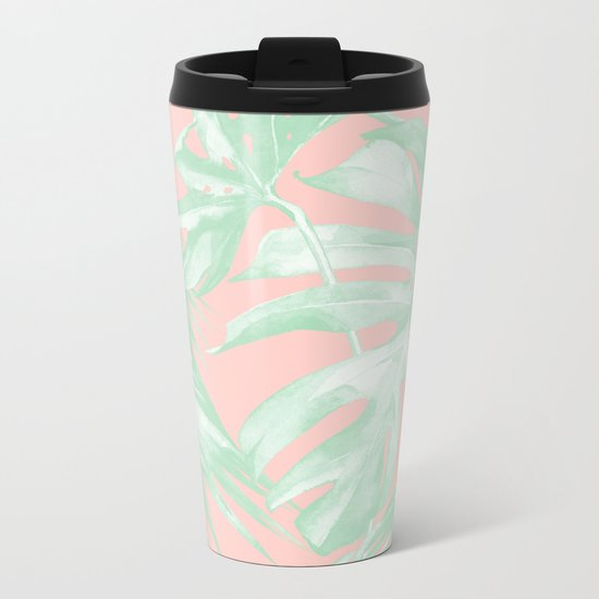 Island Love Seashell Pink + Light Green Metal Travel Mug
