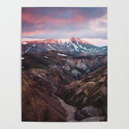 Multicoloured Hills of Landmannalaugar, Iceland Poster