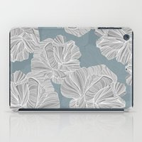 gray pattern iPad Cases featuring Gray Roses Pattern - Blue  by Sweet Karalina