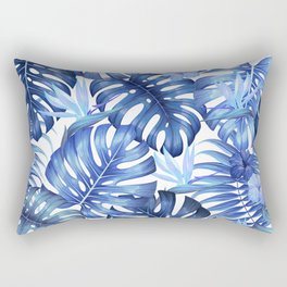 Blue tropical pattern  (monstera leaves and bird of paradise flowers Rectangular Pillow