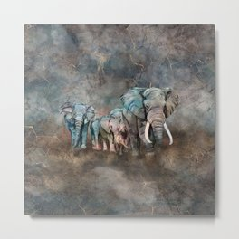 Elephant herd Digital Art Metal Print
