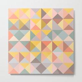 Earthy Pastels Geometric Pattern Metal Print
