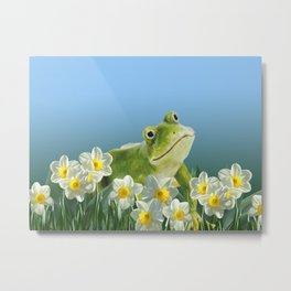 Frog in daffodils Field blue background Metal Print
