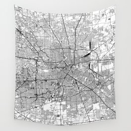 Houston White Map Wall Tapestry