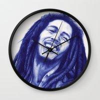 marley Wall Clocks featuring Marley ballpoint pen  by David Kokot