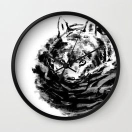 Wolf in Water Wall Clock