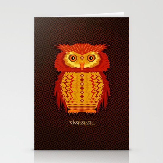Geometric Owl Stationery Cards