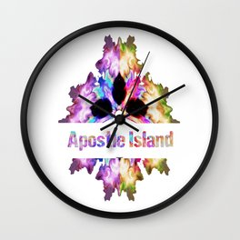 Apostle Island gift tie dye watercolor  Wall Clock