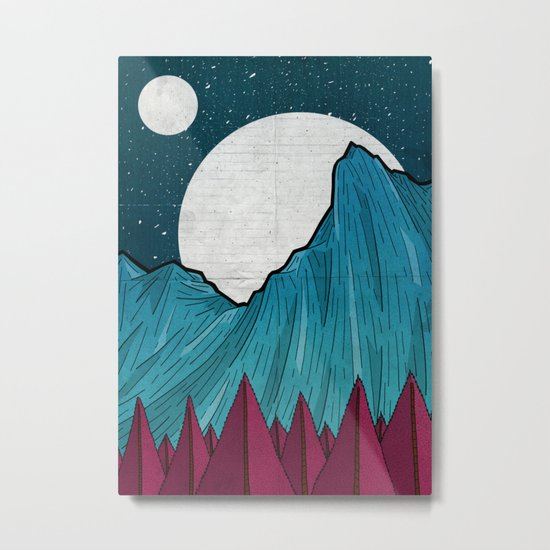 Two moons over the mountain Metal Print