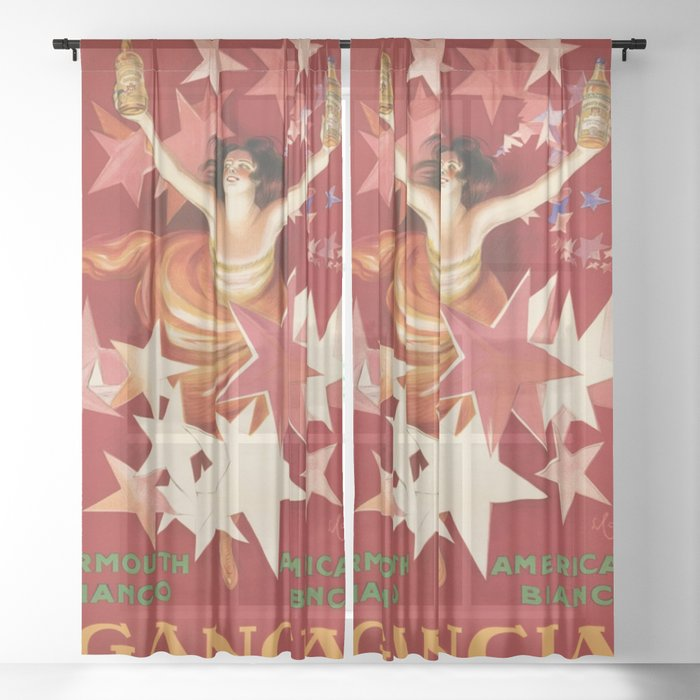 Vintage 1921 Italian Gancia Vermouth Advertisement by Leonetto Cappiello Sheer Curtain