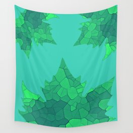 Stained Glass Tiffany style Sycamore leaves on green Wall Tapestry