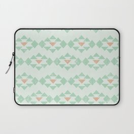 aztec tribal native american southwestern mint peach with white background Laptop Sleeve