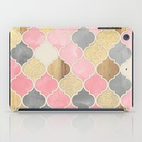 bedding iPad Cases featuring Silver Grey, Soft Pink, Wood & Gold Moroccan Pattern by micklyn