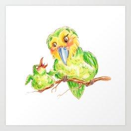 Kakapo and chick Art Print