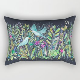 Little Garden Birds in Watercolor Rectangular Pillow