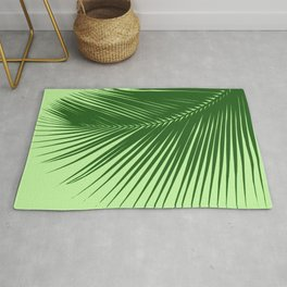 Large Palm Leaf, Emerald and Lime Green Rug